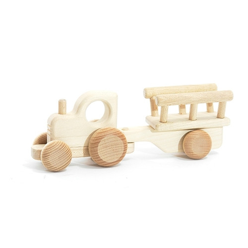 Wooden Tractor Toy with Cart