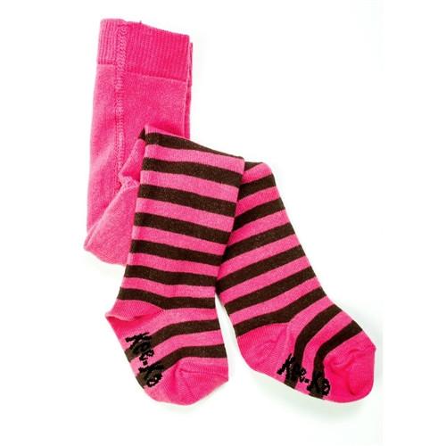 Keeka Organic Baby Tights - Pink and Brown - 6-12m