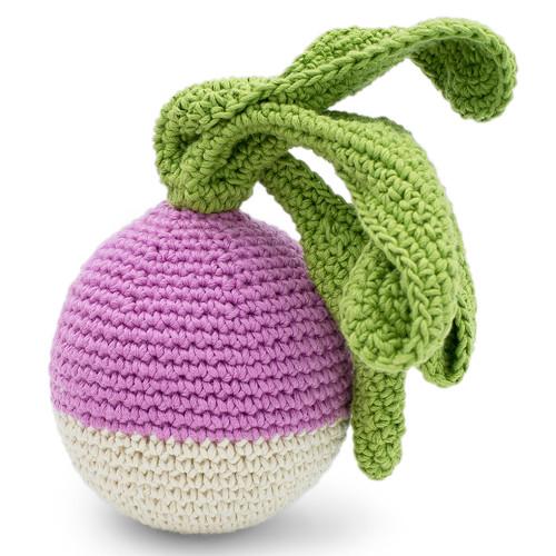Organic Hand Knit Baby Rattle -Turnip