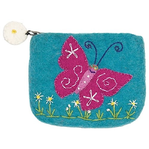 Hand Felted Coin Purse - Magical Butterfly Zippered Pouch