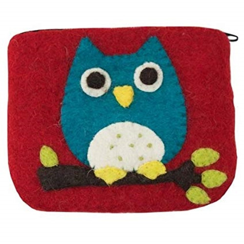 Wild Woolies Felted Card Holder - Owl Coin Purse