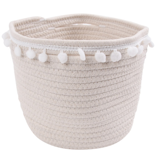 Make Your Own Gift Basket - Cotton Rope Basket with Pom Poms