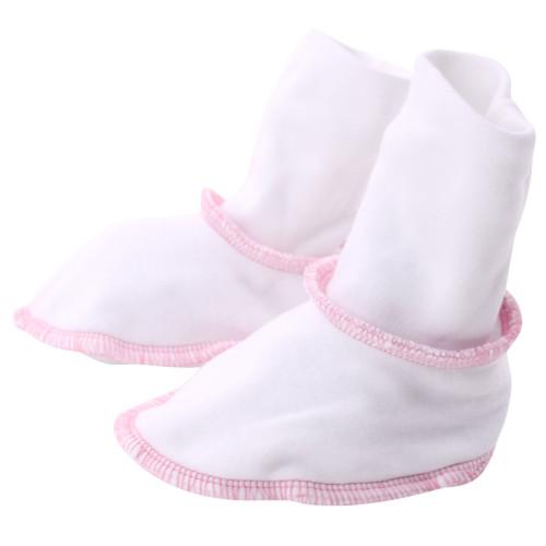 Organic Baby Booties - Pink Trim