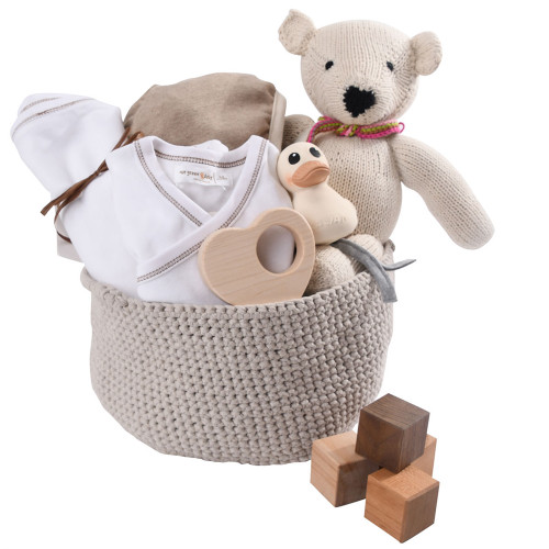 Luxury Baby Gift Basket - White & Wood