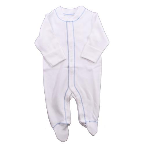 Organic Footed Pajamas - Blue Stitch - Nb-3m