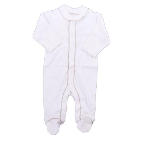 Organic Footed Pajamas - Brown Stitch - 3-6m
