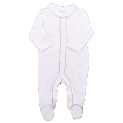 Organic Footed Pajamas - Grey Stitch - Nb-3m