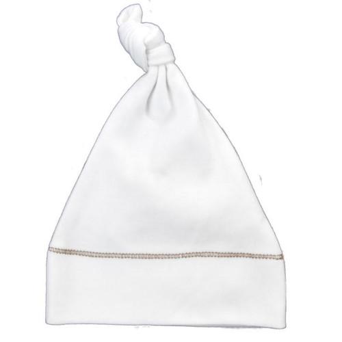 Organic Knot Hat - Brown Stitching - 3-6m