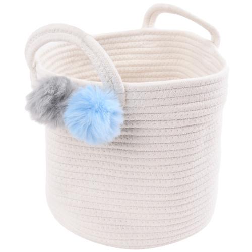 Make Your Own Gift Basket - Cotton Rope Blue/Grey Pom Pom