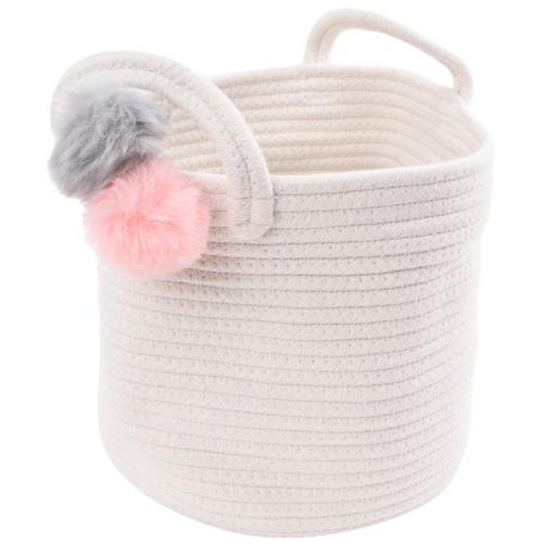 Make Your Own Gift Basket - Cotton Rope Pink/Grey Pom Pom