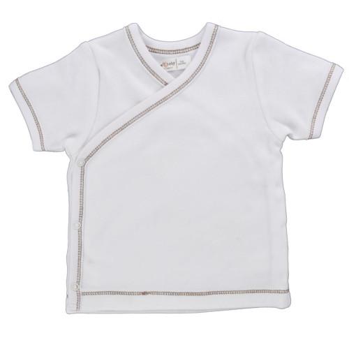 Organic Side Snap Shirt - Brown Stitching - 0-3m