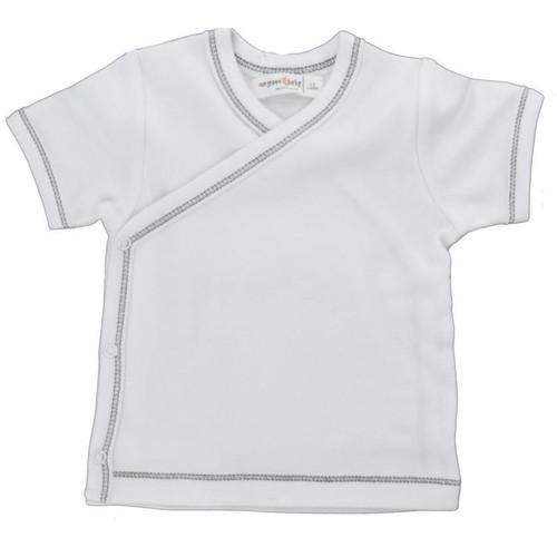 Organic Side Snap Shirt - Grey Stitching - 3-6m