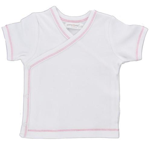 Organic Side Snap Shirt - Pink Stitching - 0-3m