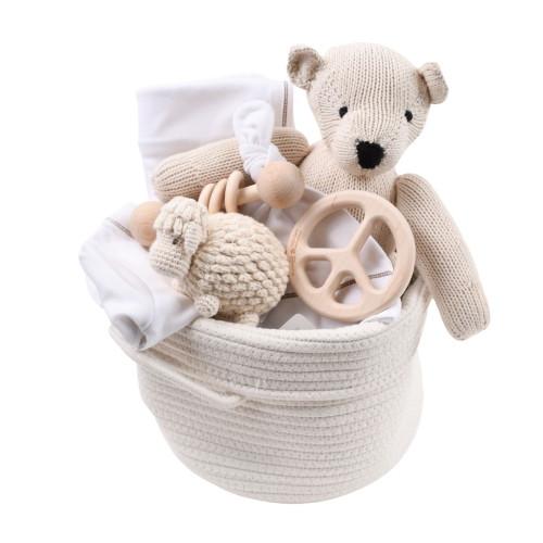 Client Baby Gift Basket Unisex - White & Wood