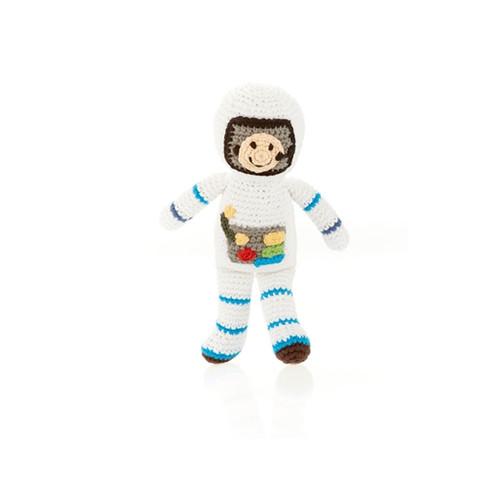 Hand Knit Baby Rattle - Space Man