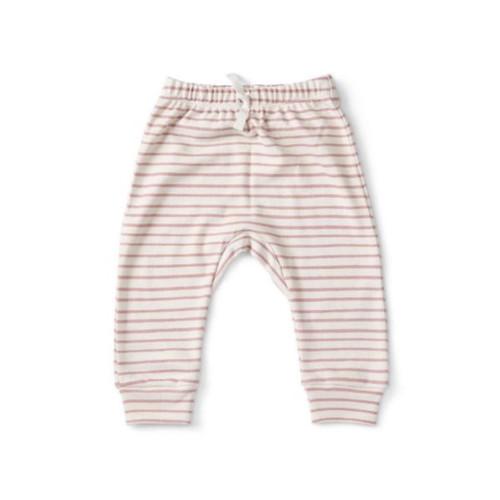 Organic Baby Harem Pants - Pink Stripe, 0-3m