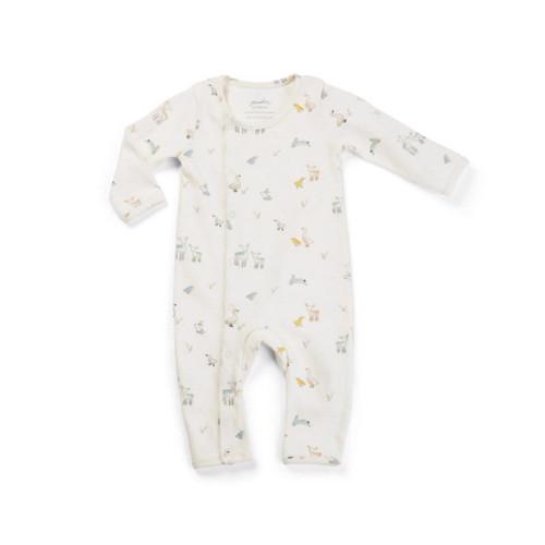 Organic Cotton Kimono Romper - Baby Animal Print, 0-3m