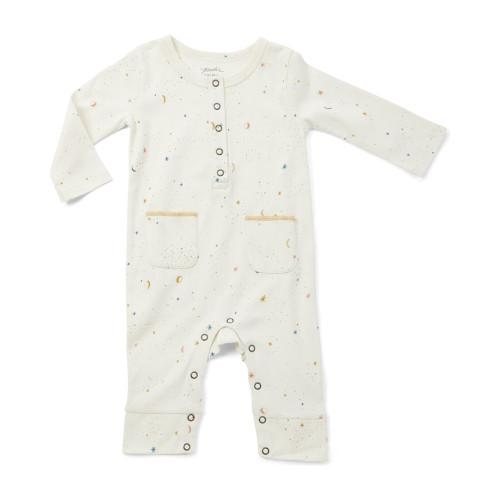 Organic Cotton Pocket Romper - Star Print, 0-3m