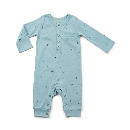 Organic Cotton Baby Romper - Rocket Print, 0-3m