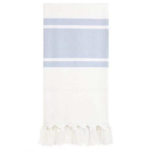 Oversized Bath or Beach Towel - White with Blue