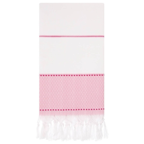 Turkish Beach Towel - White with Pink