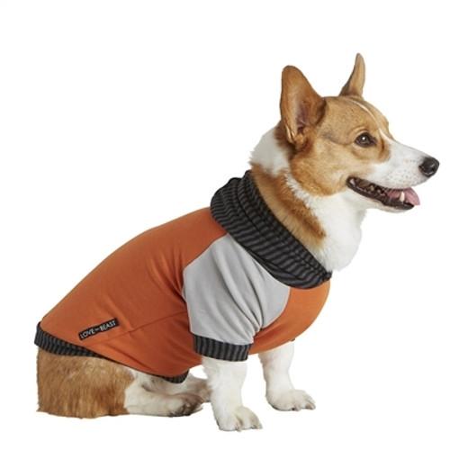 """Dog Hoodie - Orange and Grey - XS (3-6lb, 6"""" Long)"""