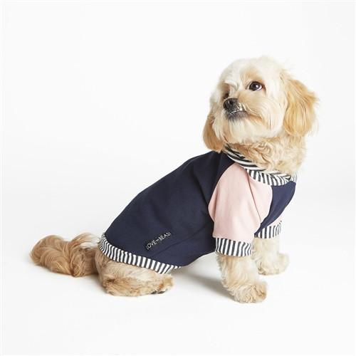 Love Thy Beast Bamboo Fleece Hoodie - Pink/Navy, L (15-20lb, 12