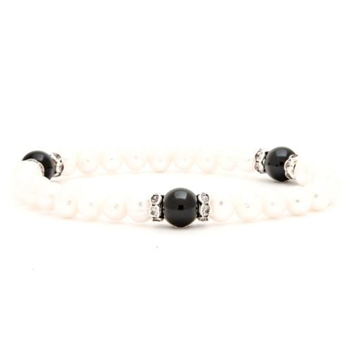 Freshwater Pearl Bracelet with Black Onyx