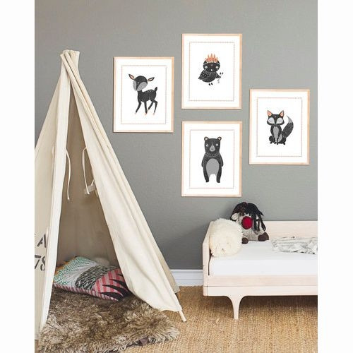 Eco-Friendly Nursery Decor - Boho Woodland Collection - Set of 4 Forest Animal Prints