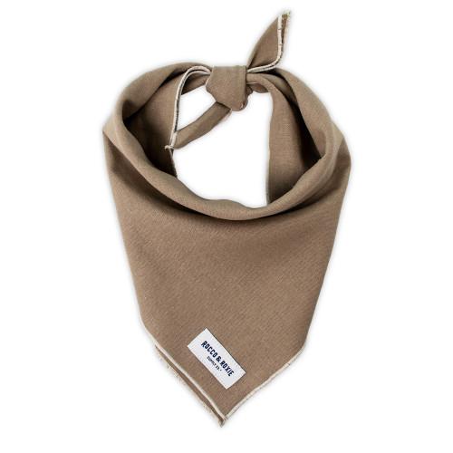 """Dog Bandana - Brown Linen, Small (10-14"""")"""