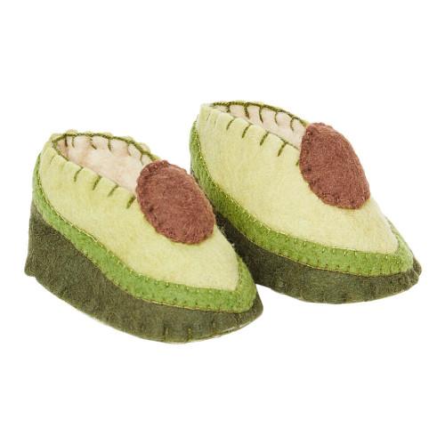 Avocado Baby Booties - Wool Felt
