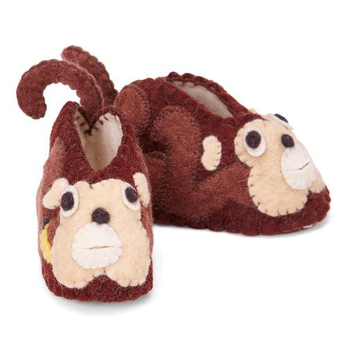 Felt Toddler Slippers - Monkey
