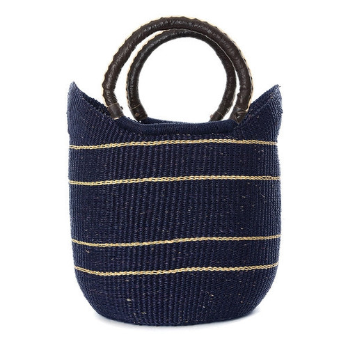 African Purse Handwoven Tote Bag - Midnight Blue