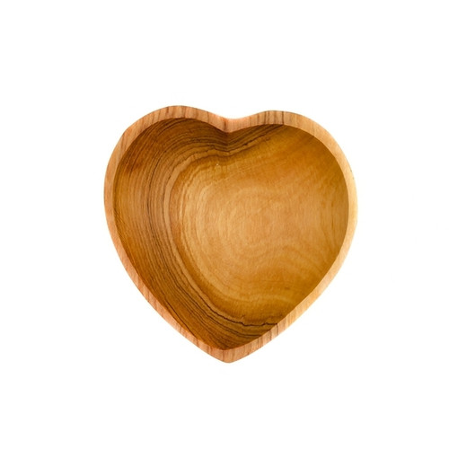 "Olive Wood Heart Bowl 4"""