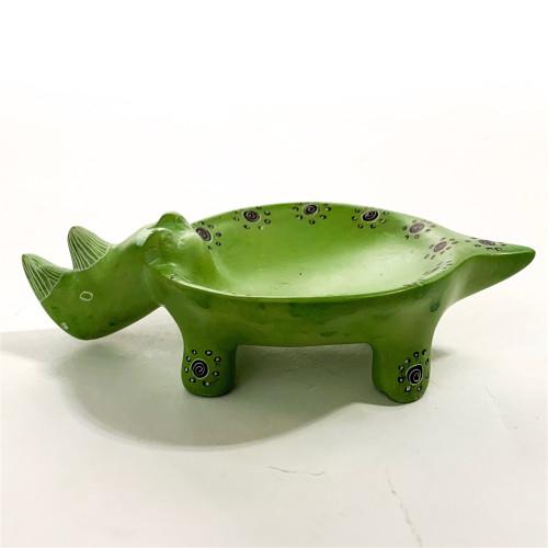 Soapstone Trinket Dish - Rhino Green