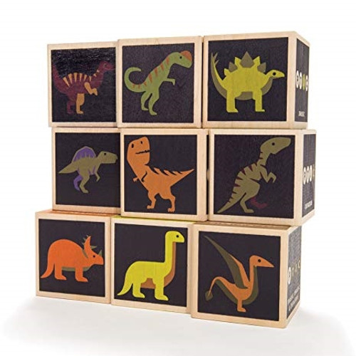 Made in the USA Wooden Blocks - Dinosaurs