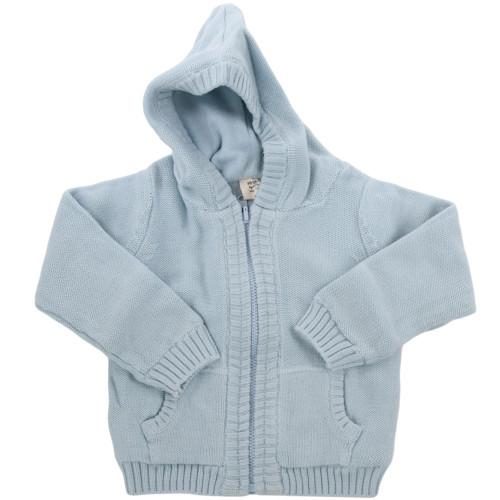 Organic Baby Sweater - Blue, 3-6 Months
