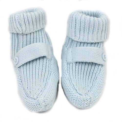 Organic Knit Baby Booties - Blue