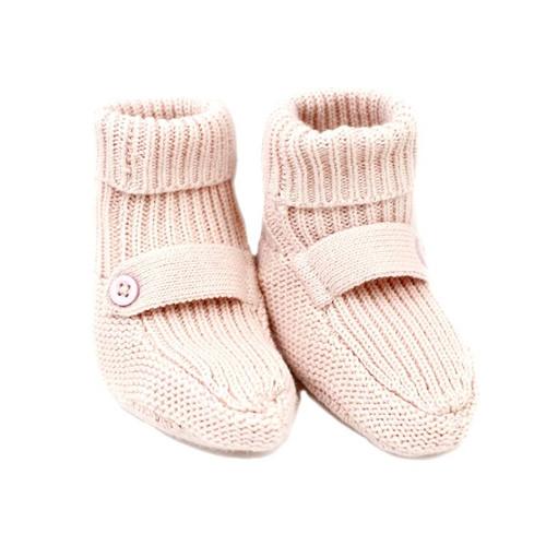 Organic Knit Baby Booties - Pink
