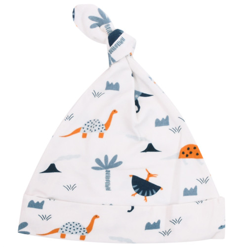 Organic Jersey Knotted Hat - Dinosaurs, 0-3m