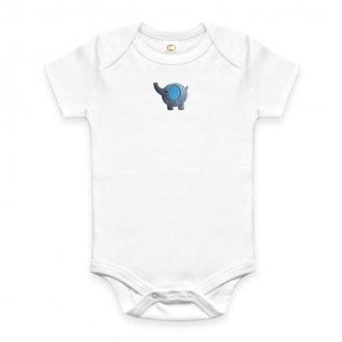 Blue Elephant Embroidered Baby Onesie