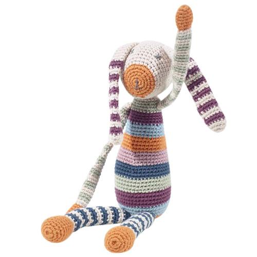 Handknit Bunny Rattle - Multicolor