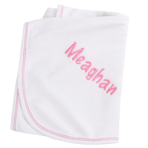 Personalized Pink Baby Blanket - Embroidered Enter Name at Checkout - Add 5 Days for Shipping