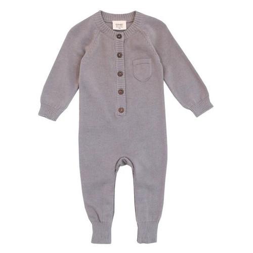 Organic Baby Romper - Grey - Knit - 3-6m