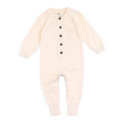 Organic Baby Romper - Cream - Knit - 3-6m