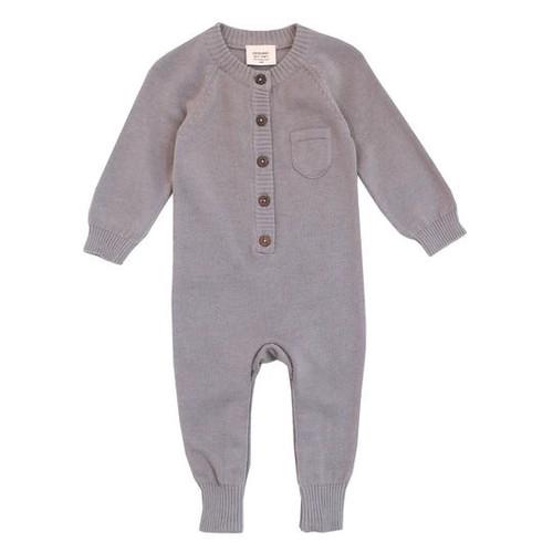 Organic Baby Romper - Grey - Knit - 0-3m