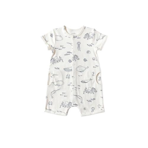 Organic Shorts Romper - Life Aquatic, 3-6m