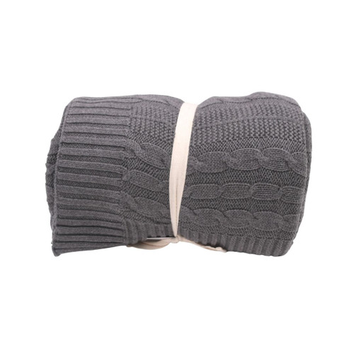 Organic Grey Throw Blanket