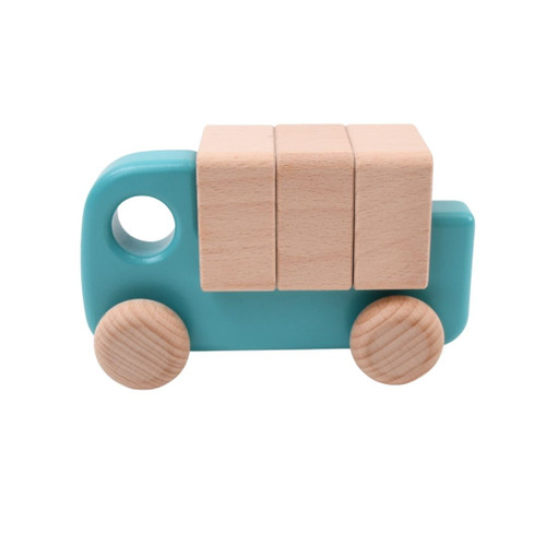 Wooden Toy Truck with Blocks - Teal