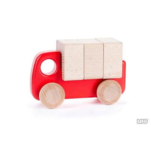 Wooden Toy Truck with Blocks - Red